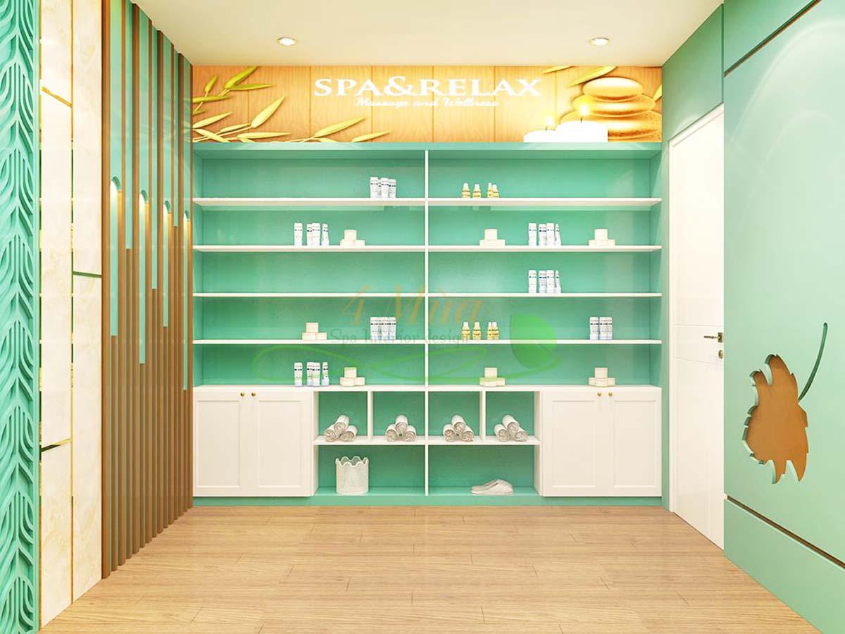 Tủ mỹ phẩm Spa thiết kế sát tường, sát trần