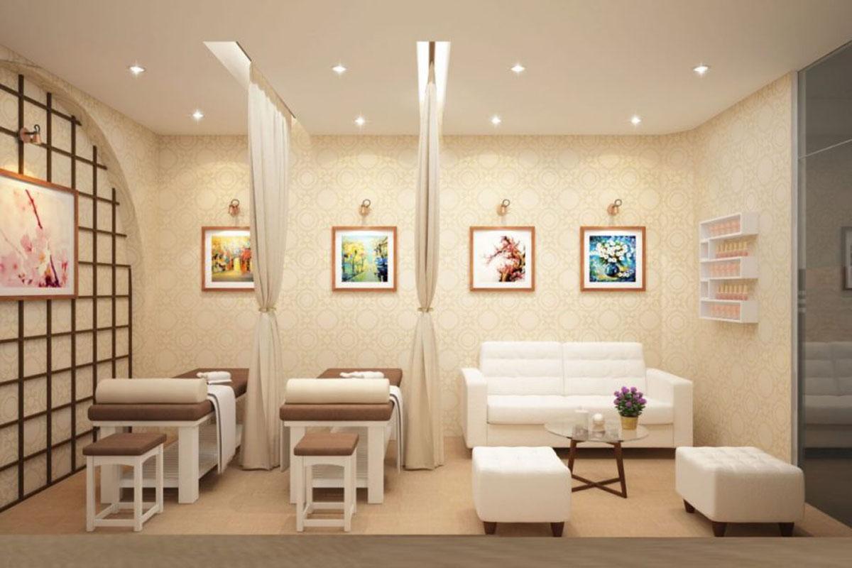 Nội thất spa thống nhất theo tone màu trắng kết hợp ánh sáng nhẹ nhàng, chuyên nghiệp