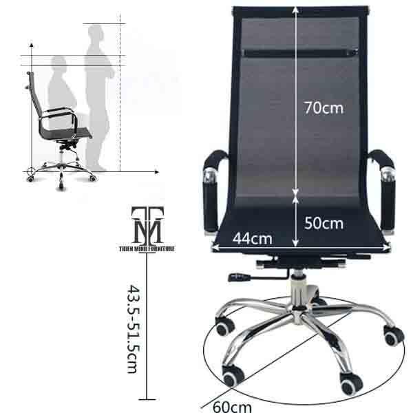 Kích thước chuẩn ghế làm việc văn phòng